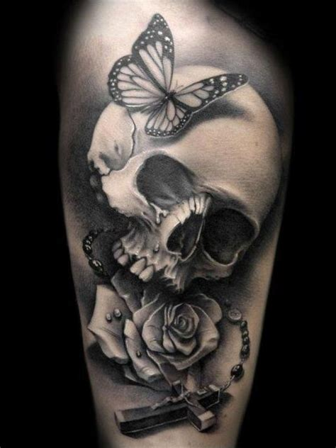 butterfly skull cross rose tattoo design of