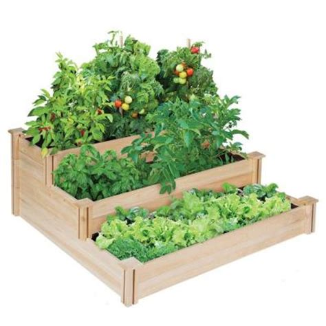 Raised Garden Beds Home Depot by Greenes Fence 4 Ft X 4 Ft X 21 In 3 Tiered Cedar Raised