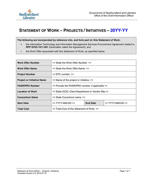 statement of work template word statement of work template in word and pdf formats
