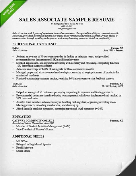 Sales Associate Resume Objective by Sales Associate Resume Objective Resume Sle Skills And