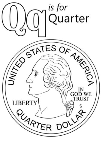 color that starts with q letter q is for quarter coloring page free printable