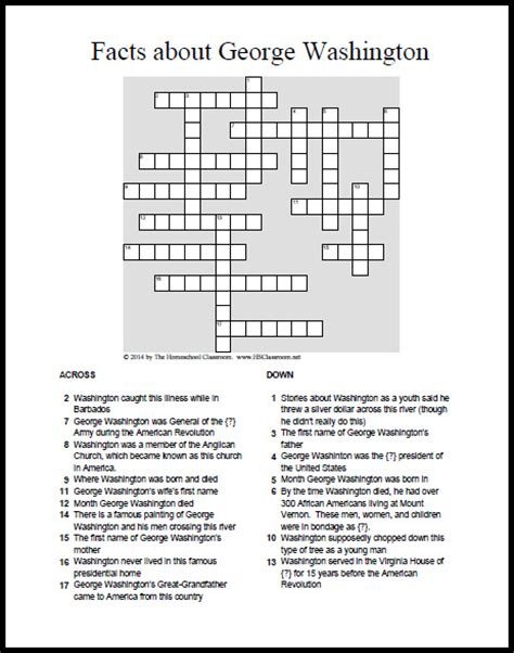 this day in presidential history books george washington crossword puzzle printable