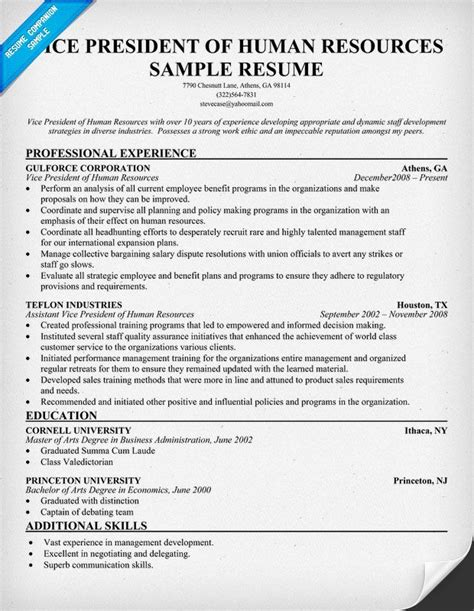 Human Resource Resume Sample by Vice President Of Human Resources Resume Resumecompanion