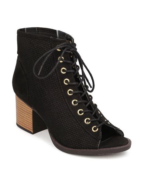 shoes qupid fk25 faux suede peep toe lace up