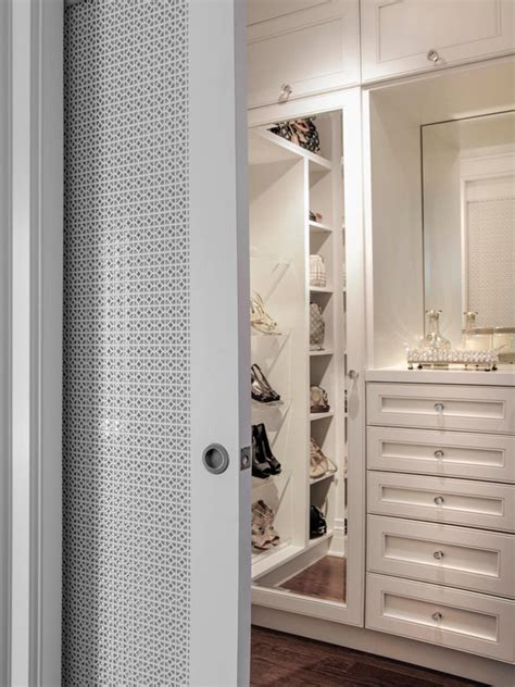 walk in closet doors closet pocket door transitional closet buchman photo