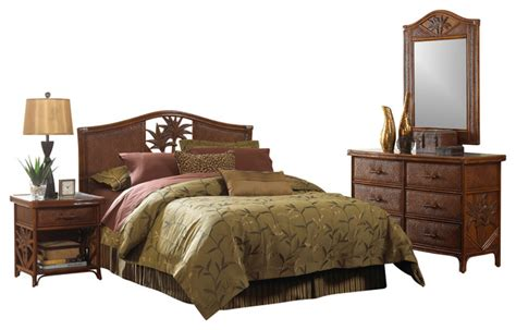 Cancun Palm Tropical Rattan And Wicker 4 Piece Bedroom Wicker Bedroom Furniture Sets