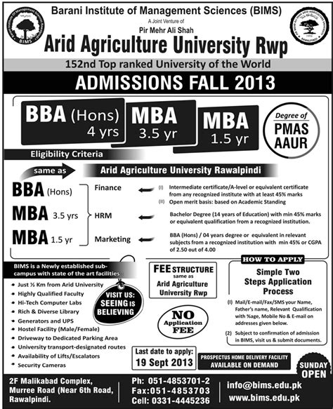Arid Agriculture Fee Structure Mba by Admission In Bba And Mba In Arid Agriculture