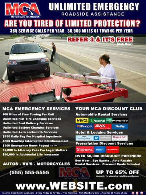 Mca Motor Club Of America Flyers Postcards Business Cards Websites Mca Unlimited Roadside Mca Flyers Templates