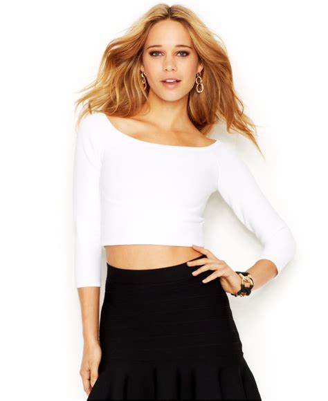 boat neck quarter sleeve top lyst guess three quarter sleeve boat neck cropped top in