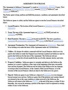 free west virginia sublease agreement pdf template