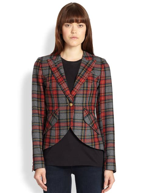 Sweater Leather Patch Maroon Plaid smythe patent leather elbowpatch tartan blazer in grey plaid lyst