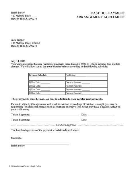 Letter Of Agreement To Pay Back Money Past Due Payment Arrangement Agreement Ez Landlord Forms Rent Payment