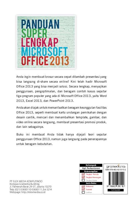 Buku Panduan Microsoft Excel jual buku panduan lengkap microsoft office 2013 oleh alfa hartoko gramedia digital indonesia