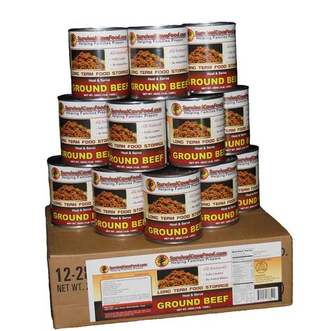 survival cave food 174 canned ground beef 12 pk 28 oz cans 235562 survival food mre at