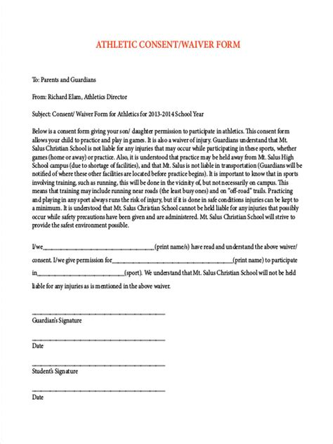 8 Sports Waiver Form Sles Free Sle Exle Format Download Sports Waiver Template