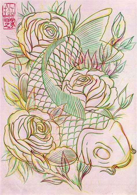 koi fish rose tattoo outline awesome koi fish tattoo design tattooshunter com