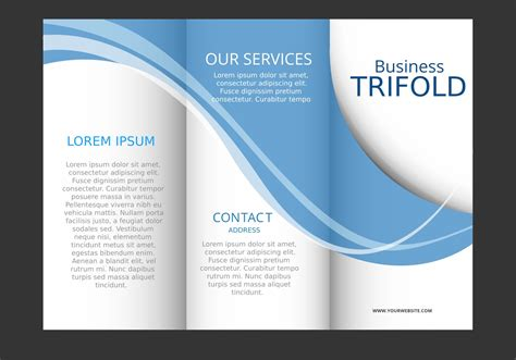 Template Design Of Blue Wave Trifold Brochure Download Free Vector Art Stock Graphics Images Brochure Design Templates Free