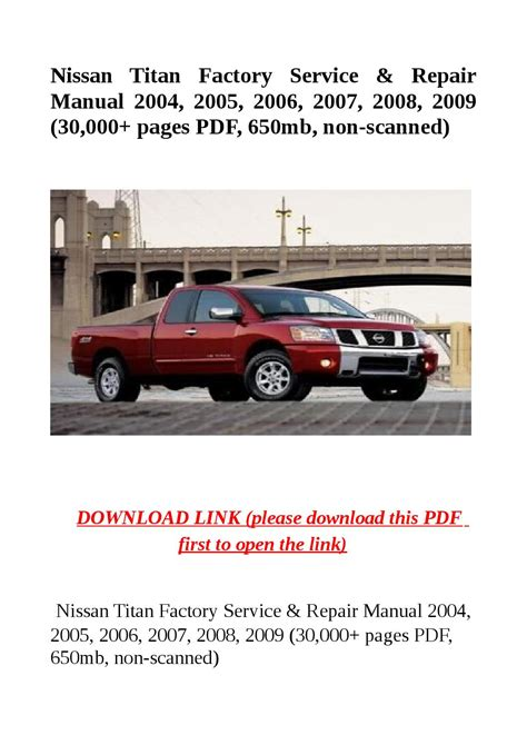 Nissan Titan Factory Service Amp Repair Manual 2004 2005