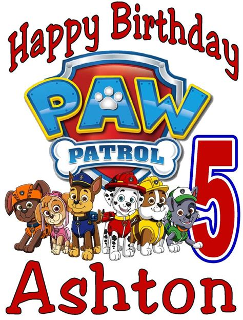 size 2t age paw patrol birthday t shirt personalized any name age 2t