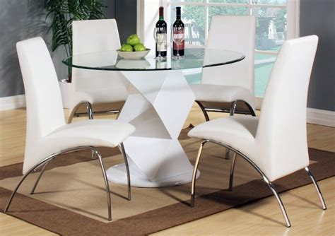 Small Round Dining Room Tables by Modern Round White High Gloss Clear Glass Dining Table Amp 4