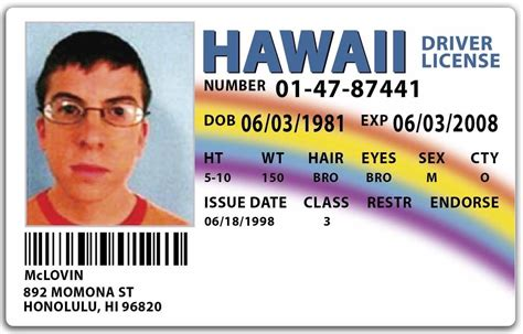 hawaii id card template novelty driver license currency passport id etc