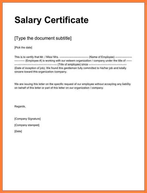 4 salary certificate format in word free salary paper