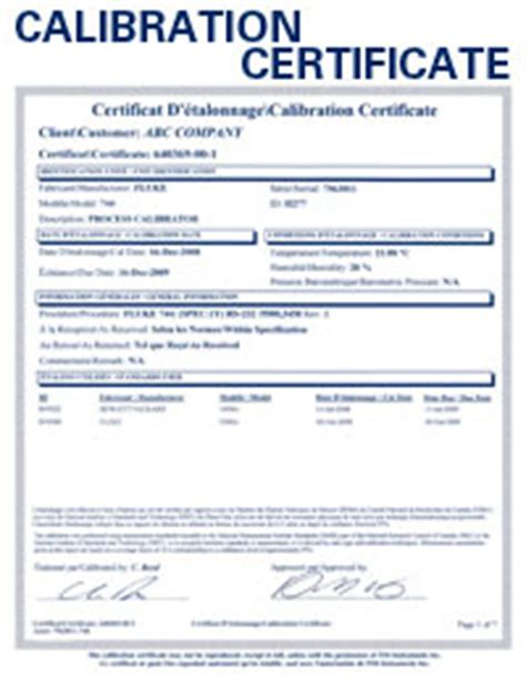 pressure calibration certificate template qualified calibrations iso certification and repairs