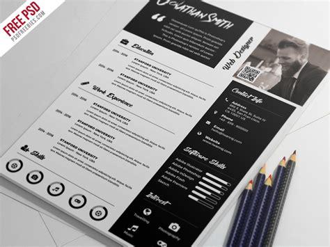 premium resume template free psd psdfreebies