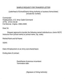 Transfer Request Letter Sle Transfer Request Letter 5 Documents In Pdf Word