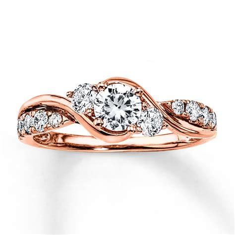 diamond engagement ring 7 8 ct tw round cut 14k rose gold