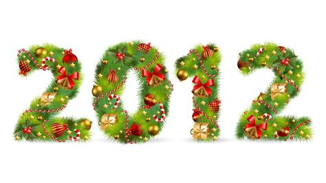 2012 tree font with christmas ornaments element free
