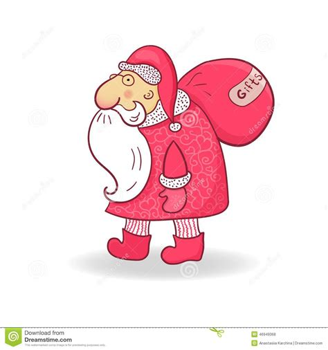 doodle santa santa claus in doodle style vector illustration stock