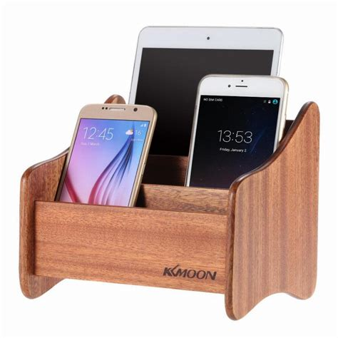 phone charging box kkmoon wooden tablet smartphone remote control phone stand