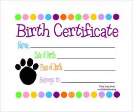 free puppy birth certificate template sle birth certificate 11 free documents in word pdf