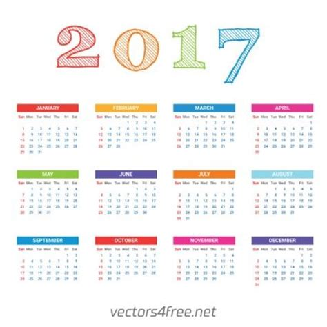 2017 Calendar Template Vector Calendarios En Espa 241 Ol Vector Pinterest Adobe Calendar Template