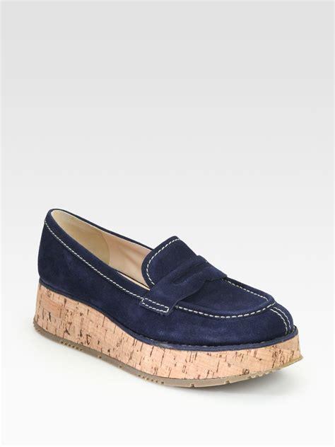 platform loafers prada suede cork platform loafers in blue lyst