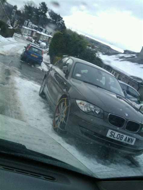 bmw snow chains bmw stuck in the snow guess which end your chains go on