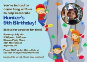 rock climbing birthday invitations ideas bagvania free