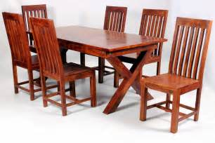 Wood Dining Table And 6 Chairs Jaipur Dining Table With 6 Chairs In Solid Acacia Wood Blue Interiors