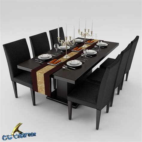 Dining Table Models Dining Table Set 01 3d Model Max Obj 3ds Fbx Cgtrader
