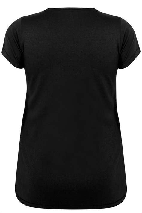 Nan Segi Ns 02 Owl black sleeved v neck basic t shirt plus size 16 to 36