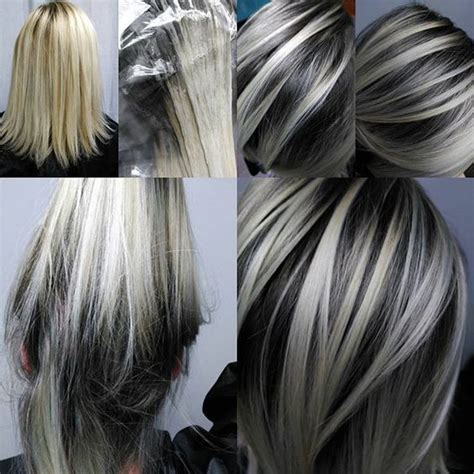 black lowlights in white gray hair beautiful hairstyle highlights pinterest beautiful