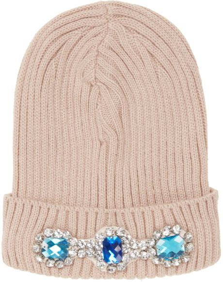 Preview Lupfer And Ashish For Topshop by Topshop Heavy Embellished Beanie In Pink Dusty Pink Lyst