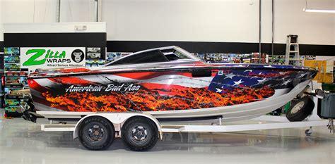 vinyl wrap on boat american flag vinyl boat wrap zilla wraps