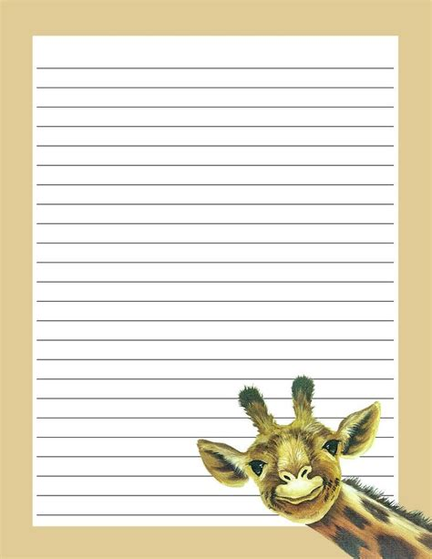 free printable giraffe stationery 17 best images about hojas decoradas on pinterest peach