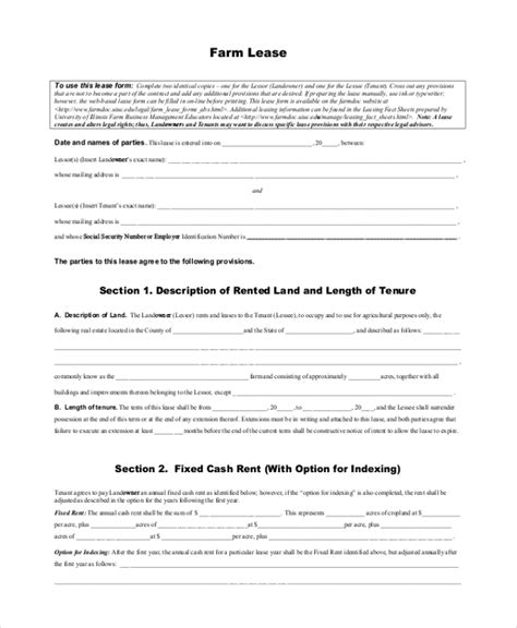 Sle Lease Form 21 Free Documents In Pdf Farm Out Agreement Template