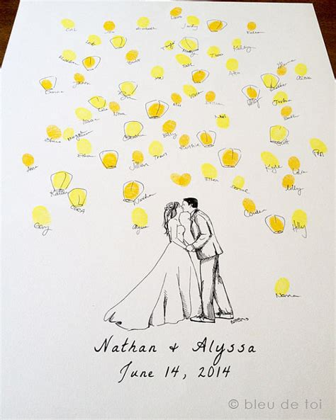 Wedding Wishes Drawing by Unique Wedding Guestbook Custom Drawing With By