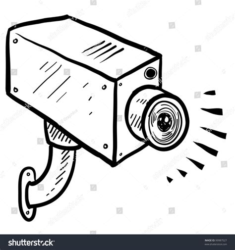 Doodle Style Security Surveillance Vector Stock