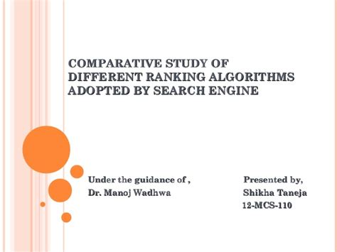 Study On Search Engine Comparative Study Of Different Ranking Algorithms Adopted By Search