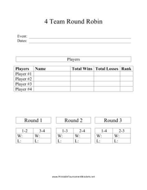 6 team draw template printable 4 team robin